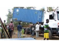 container arrives at permanent location