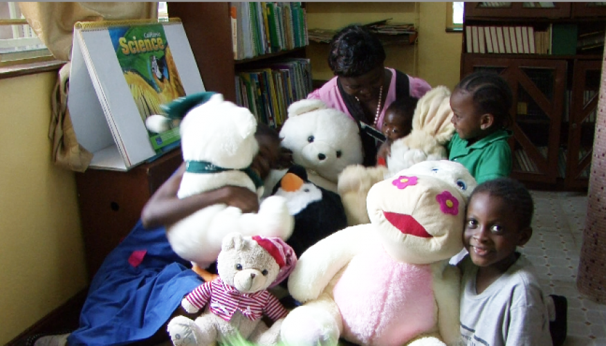 Central library kids having fun with donated teddy bears